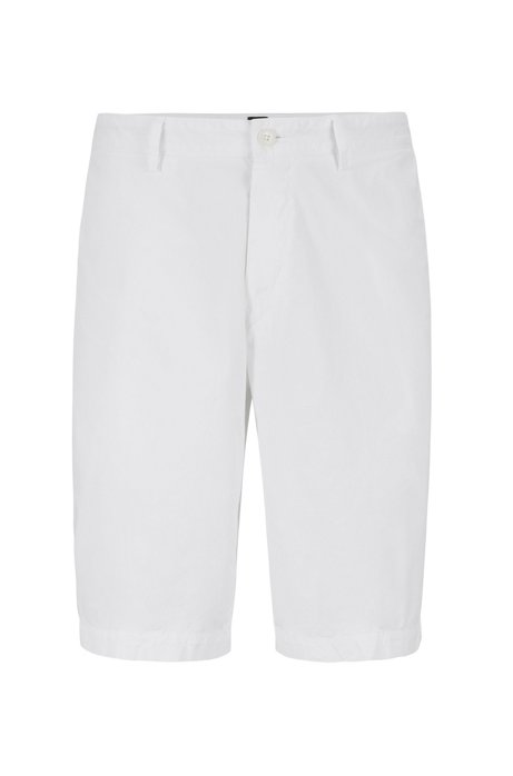 149a9643 Regular-fit shorts in Italian stretch-cotton twill, White
