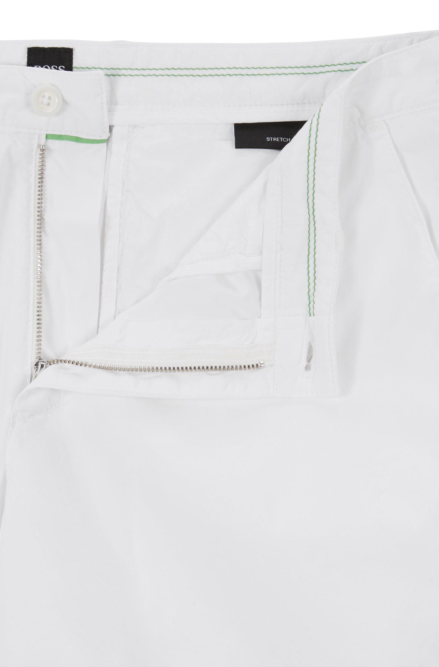 Pantaloncini regular fit in twill di cotone elasticizzato prodotto in Italia, Bianco