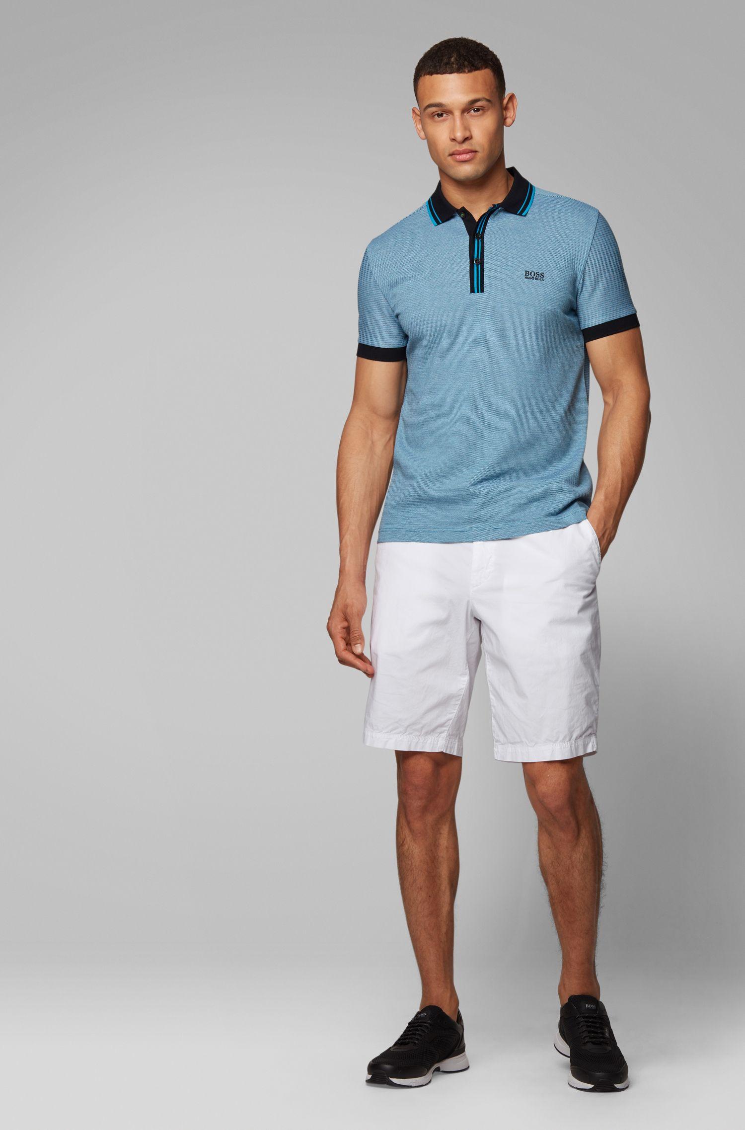 Regular-fit short in een twill van Italiaanse stretchkatoen, Wit