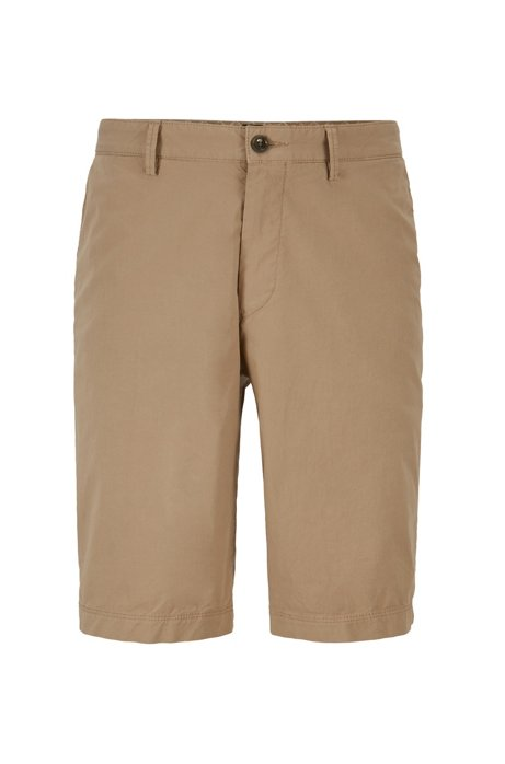 Shorts regular fit en sarga de algodón elástico italiano, Beige