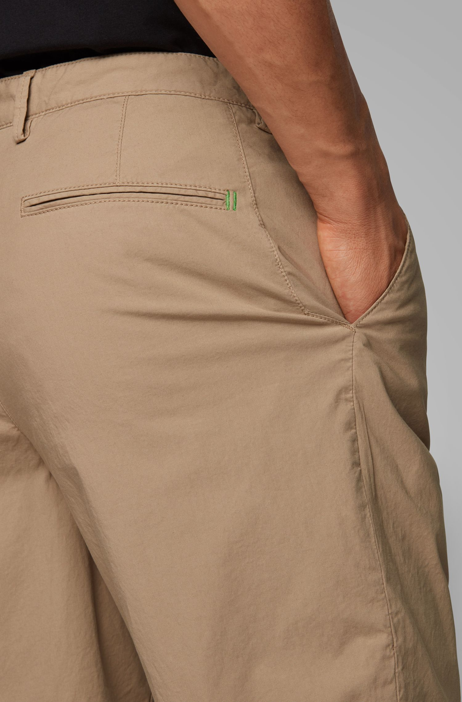 Regular-fit shorts in Italian stretch-cotton twill, Beige