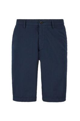 Short Regular Fit en twill de coton stretch italien, Bleu foncé