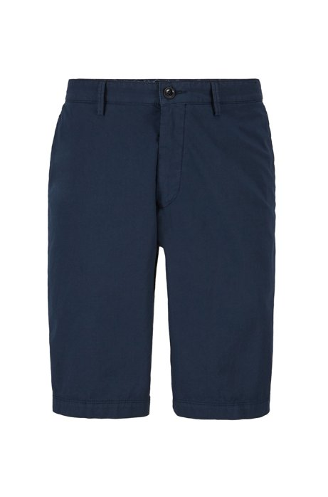 Regular-fit shorts in Italian stretch-cotton twill, Dark Blue