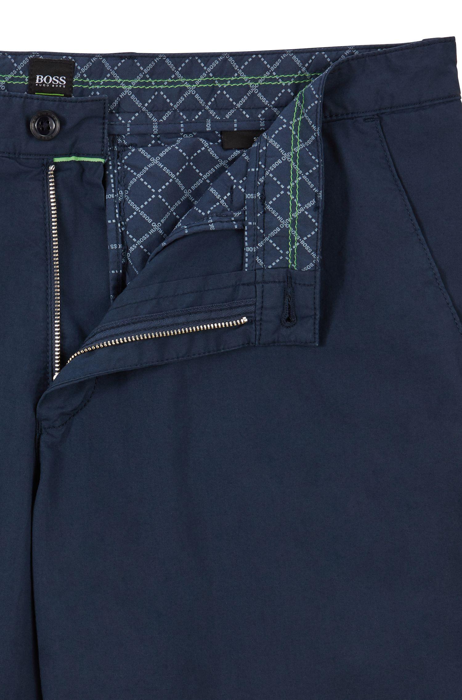 Pantaloncini regular fit in twill di cotone elasticizzato prodotto in Italia, Blu scuro