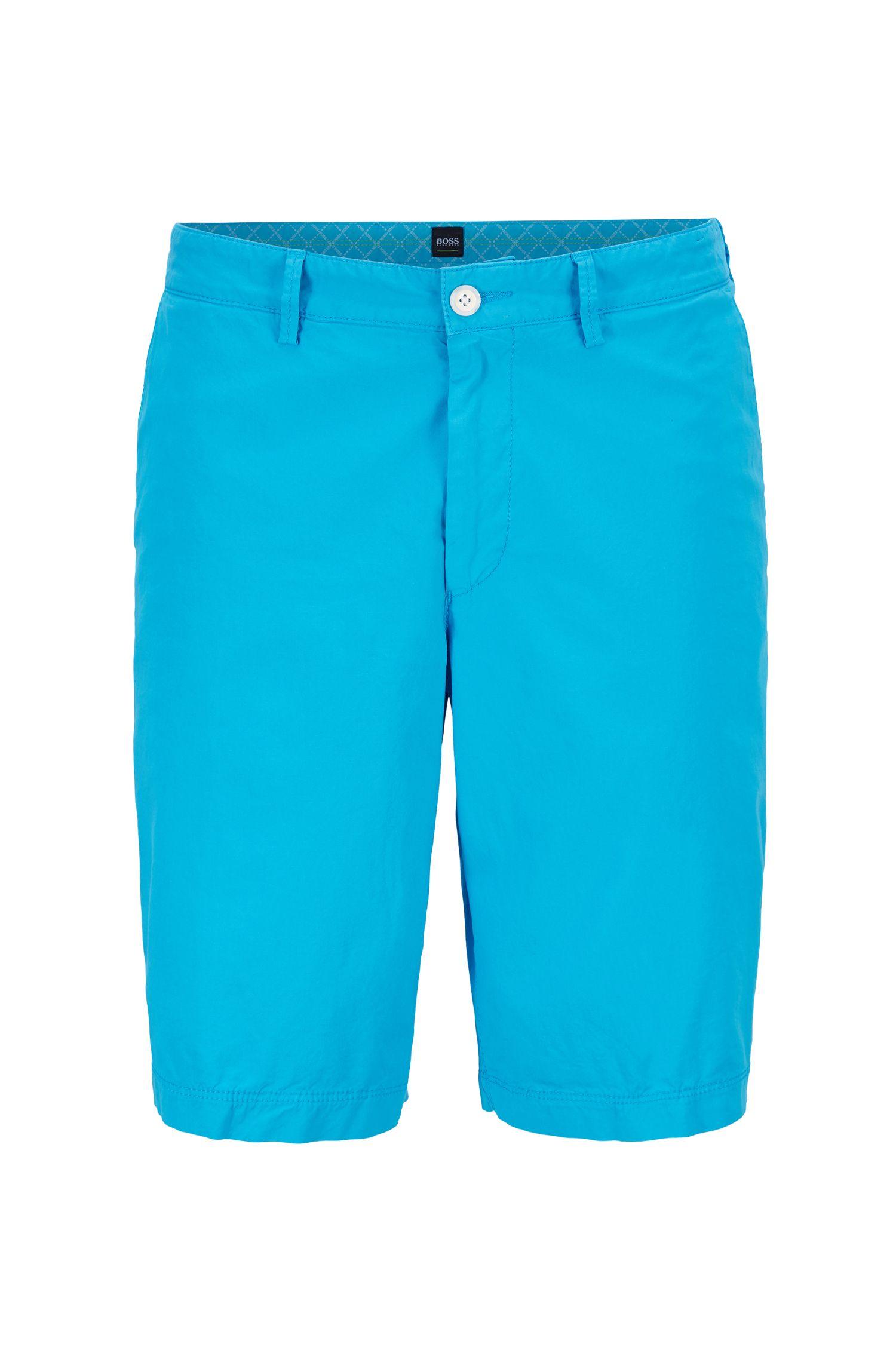 Short Regular Fit en twill de coton stretch italien, Bleu