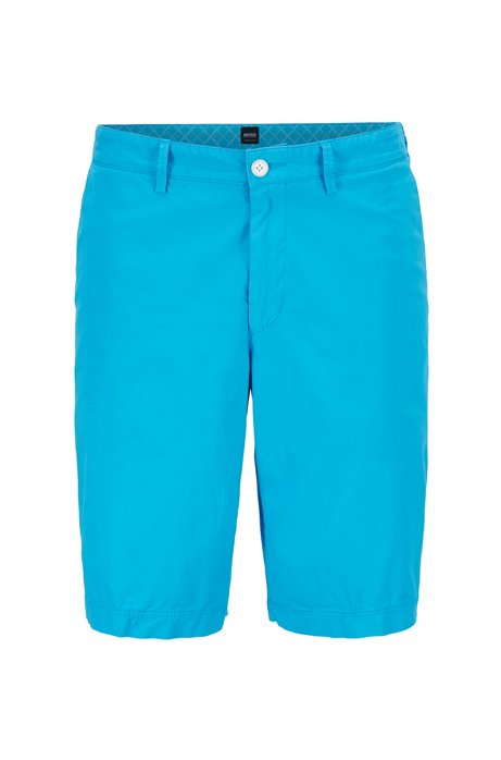 Regular-Fit Twill-Shorts aus italienischer Stretch-Baumwolle, Blau