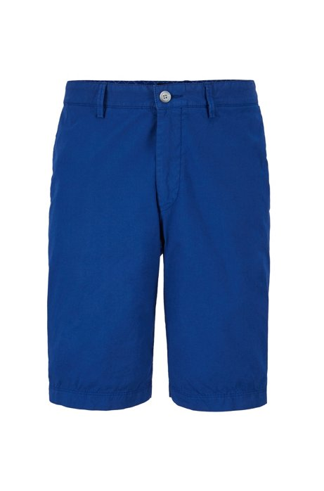 Short Regular Fit en twill de coton stretch italien, Bleu
