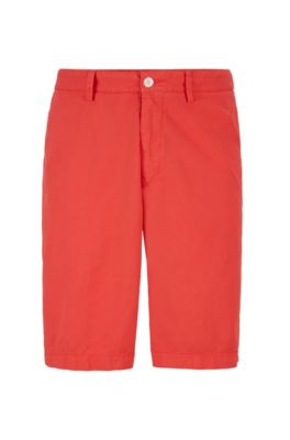 Regular-Fit Twill-Shorts aus italienischer Stretch-Baumwolle, Rot