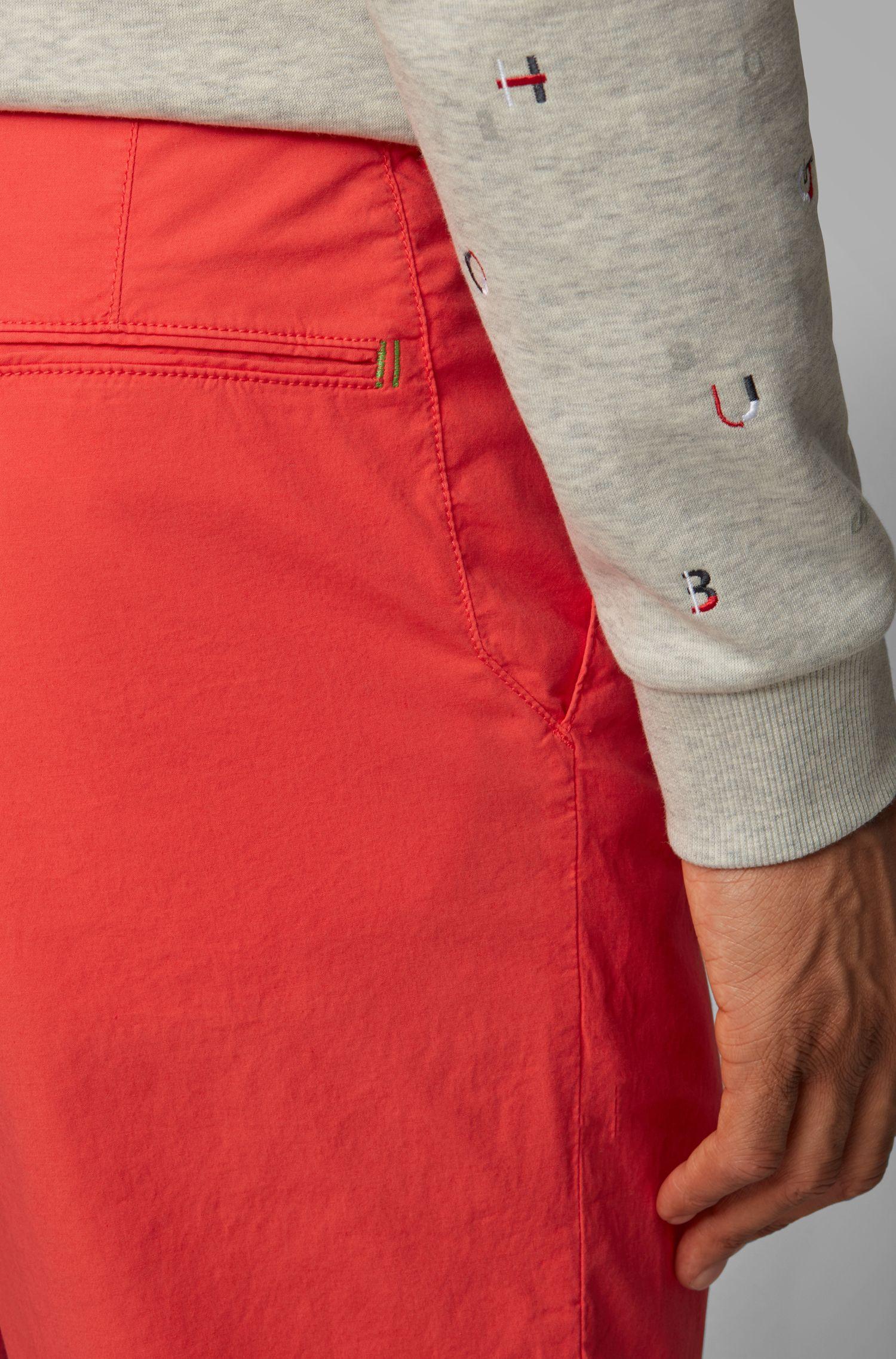 Short Regular Fit en twill de coton stretch italien, Rouge