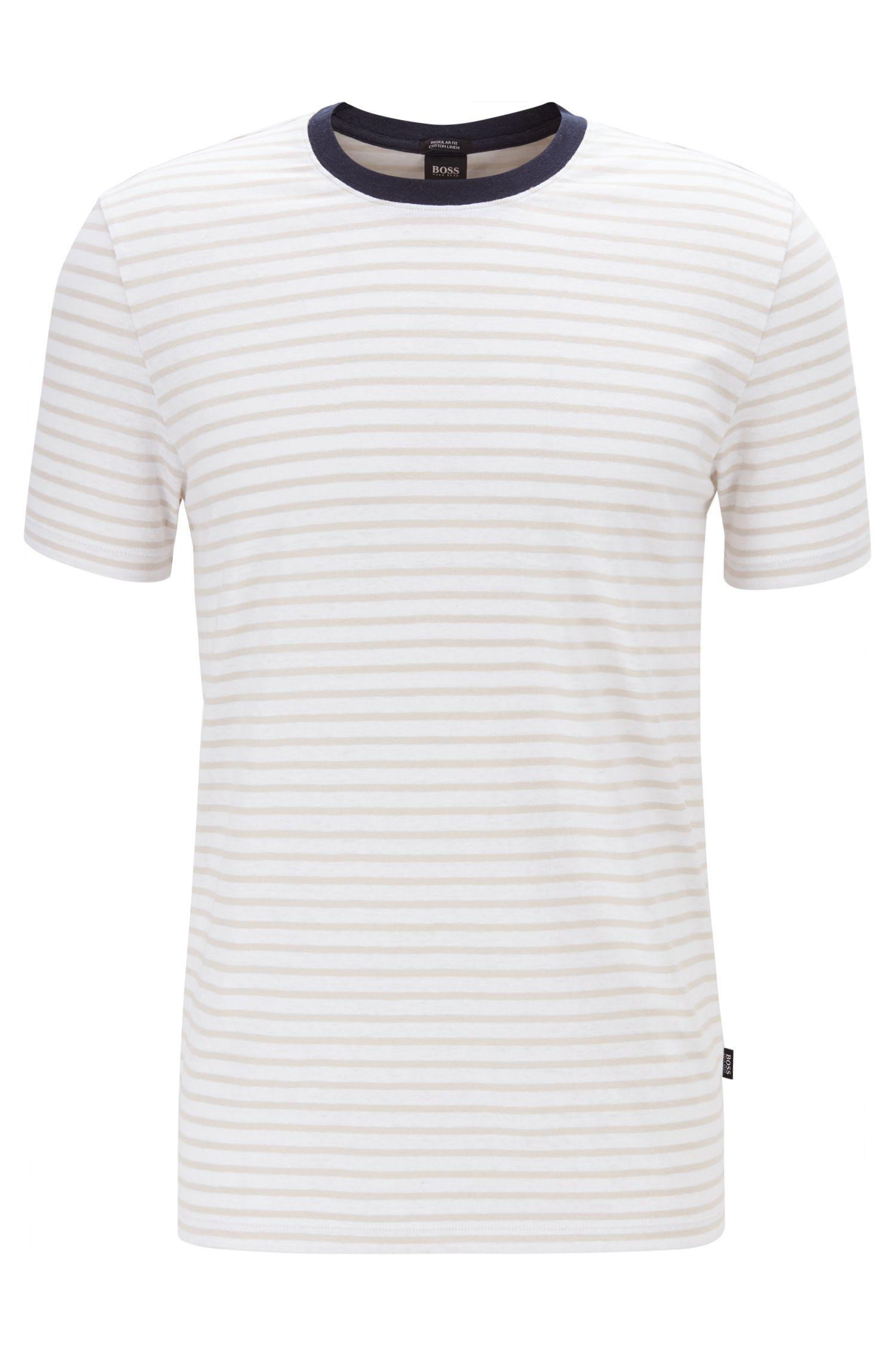 Gestreiftes T-Shirt mit Rundhalsausschnitt aus Leinen-Mix mit Baumwolle, Natur