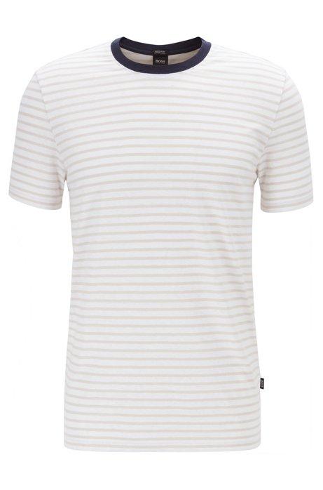 7bfd2cb2 BOSS - Crew-neck T-shirt in a striped linen-cotton blend