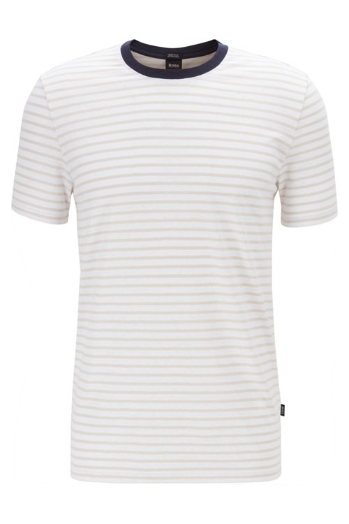 Hugo Boss - Camiseta de cuello redondo a rayas en mezcla de algodón y lino - 1