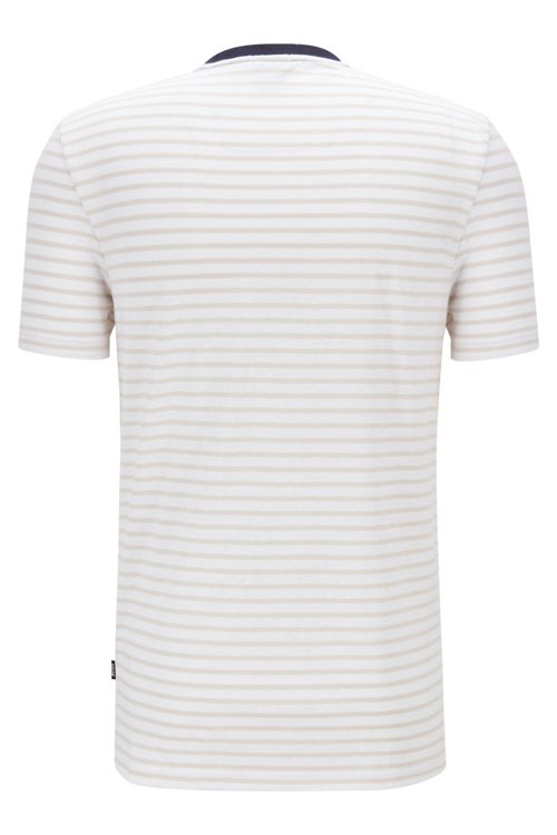 Hugo Boss - Camiseta de cuello redondo a rayas en mezcla de algodón y lino - 3