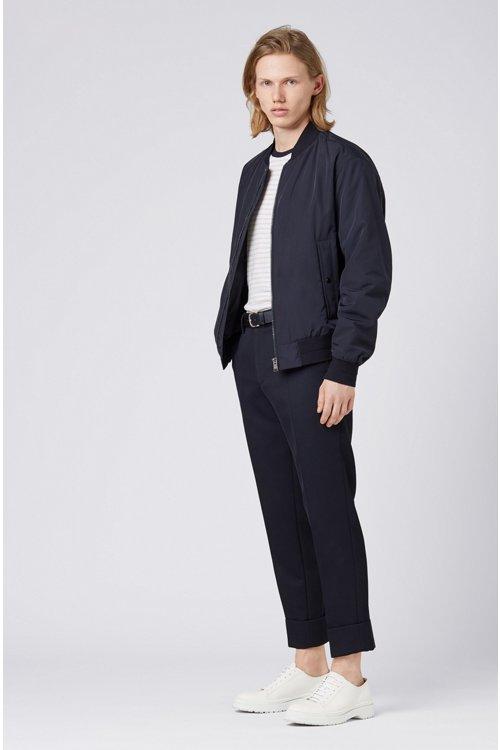 Hugo Boss - Camiseta de cuello redondo a rayas en mezcla de algodón y lino - 2