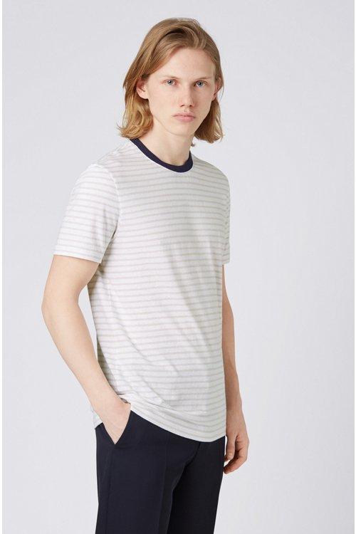 Hugo Boss - Camiseta de cuello redondo a rayas en mezcla de algodón y lino - 4