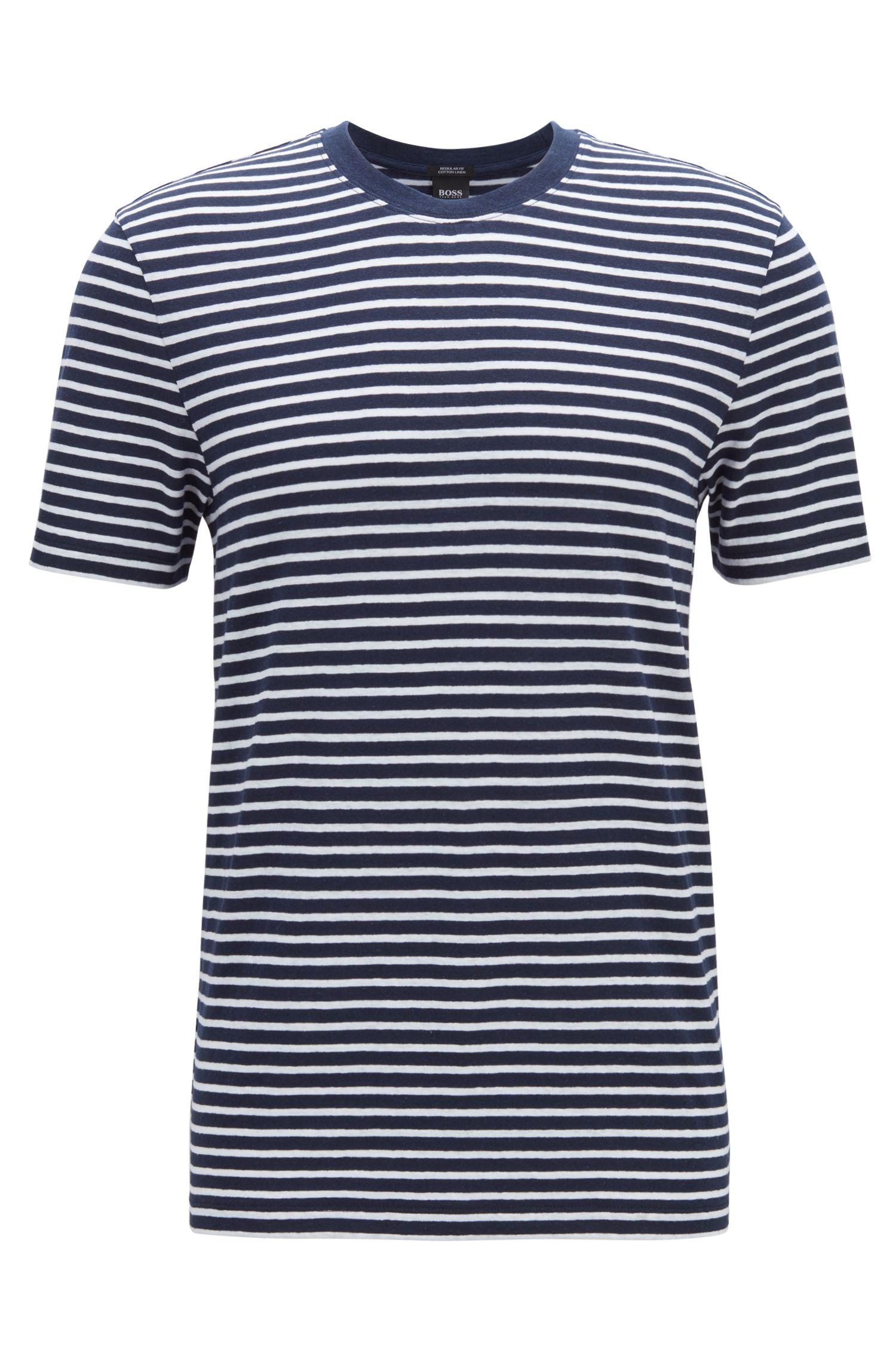 T-shirt col rond à rayures, en mélange de lin et de coton, Bleu foncé