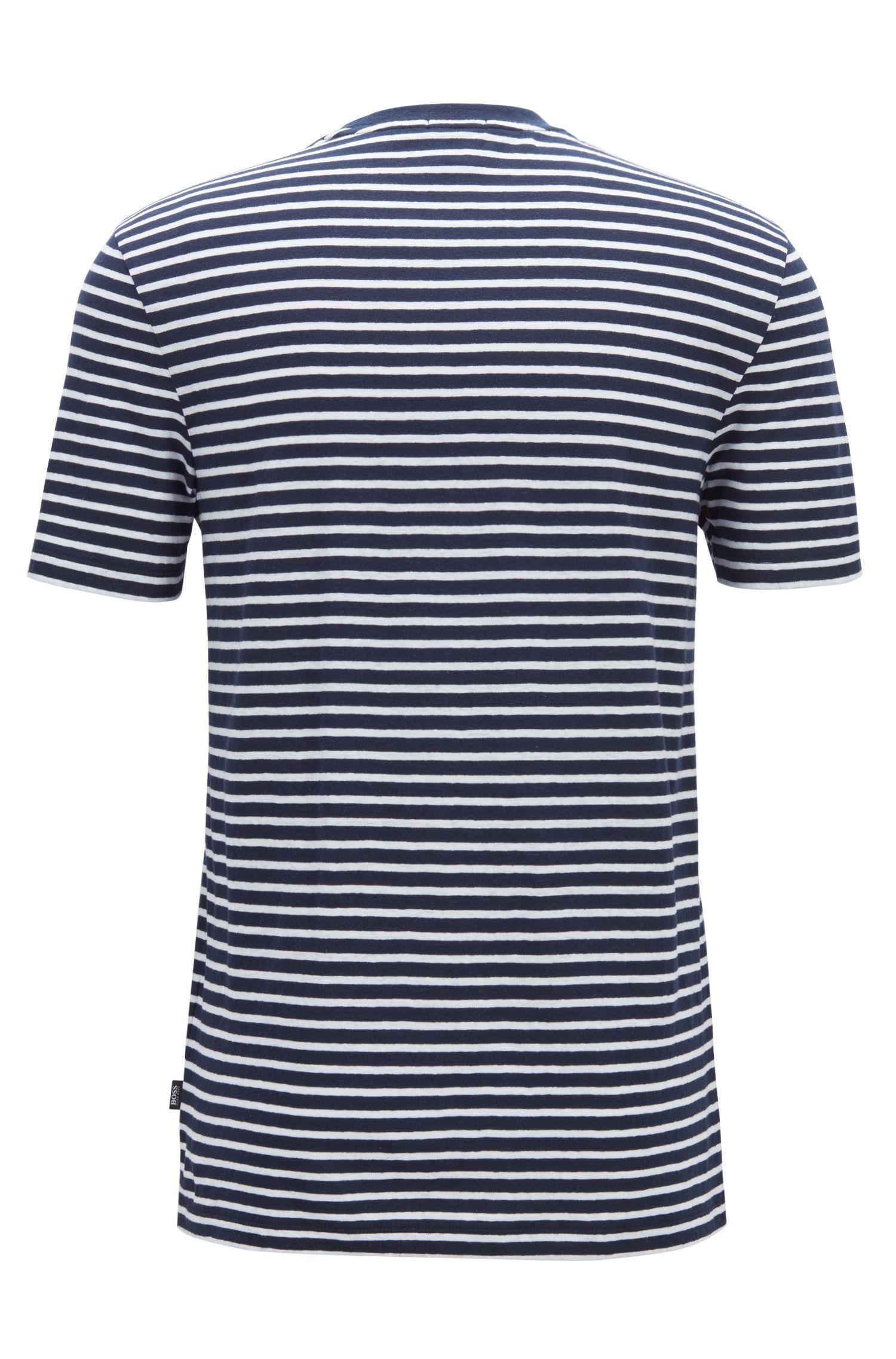 Crew-neck T-shirt in a striped linen-cotton blend, Dark Blue