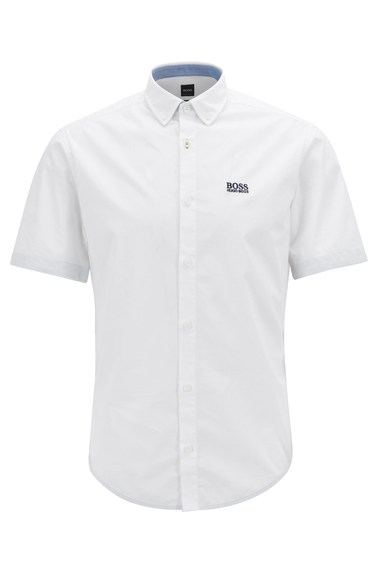 Regular-fit shirt with button-down collar, White