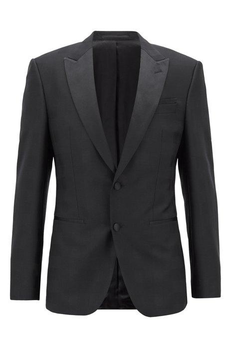 Slim-fit dinner jacket in tonal-checked virgin wool, Black