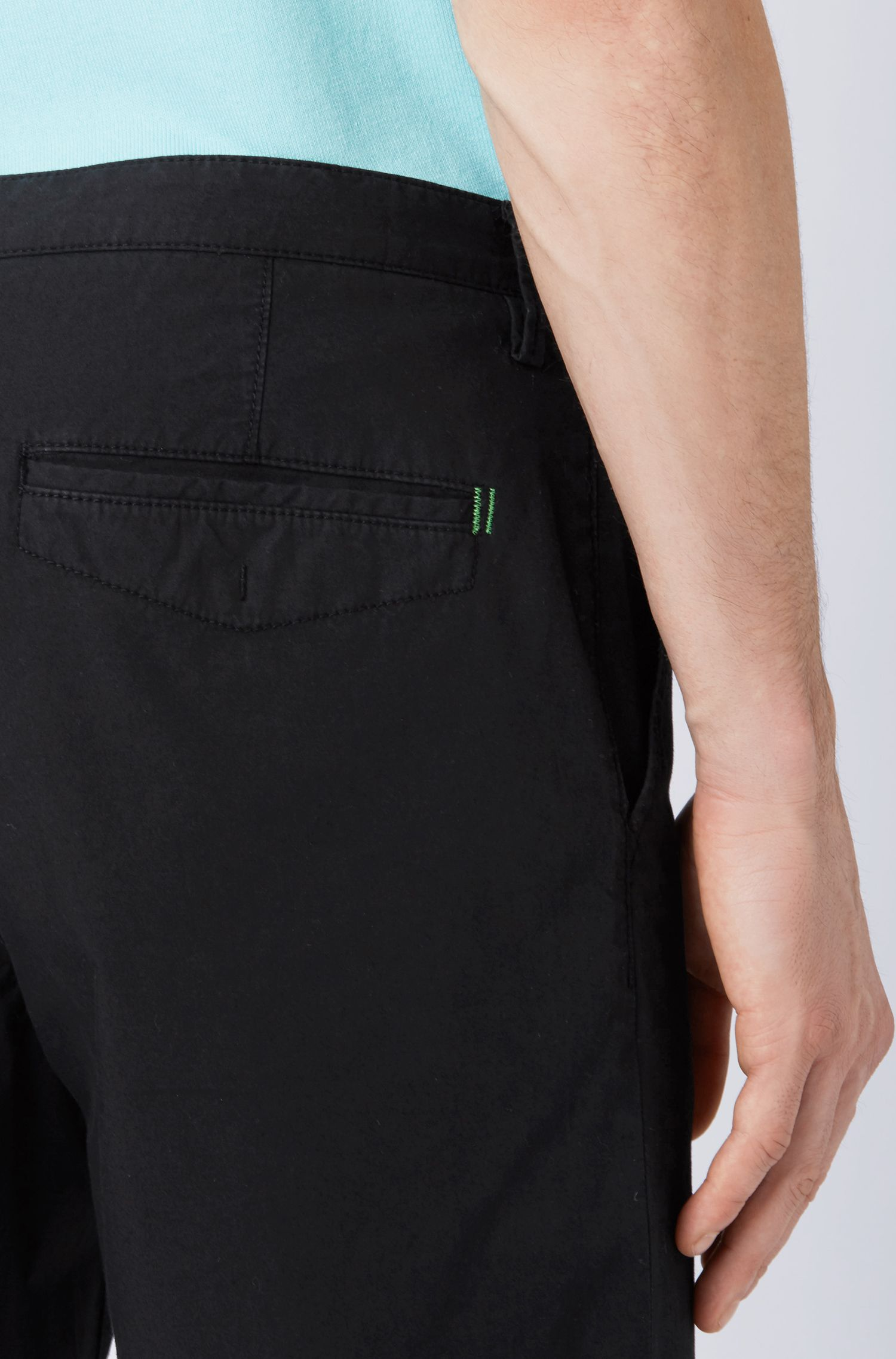 Lightweight slim-fit trousers in Italian stretch cotton, Black