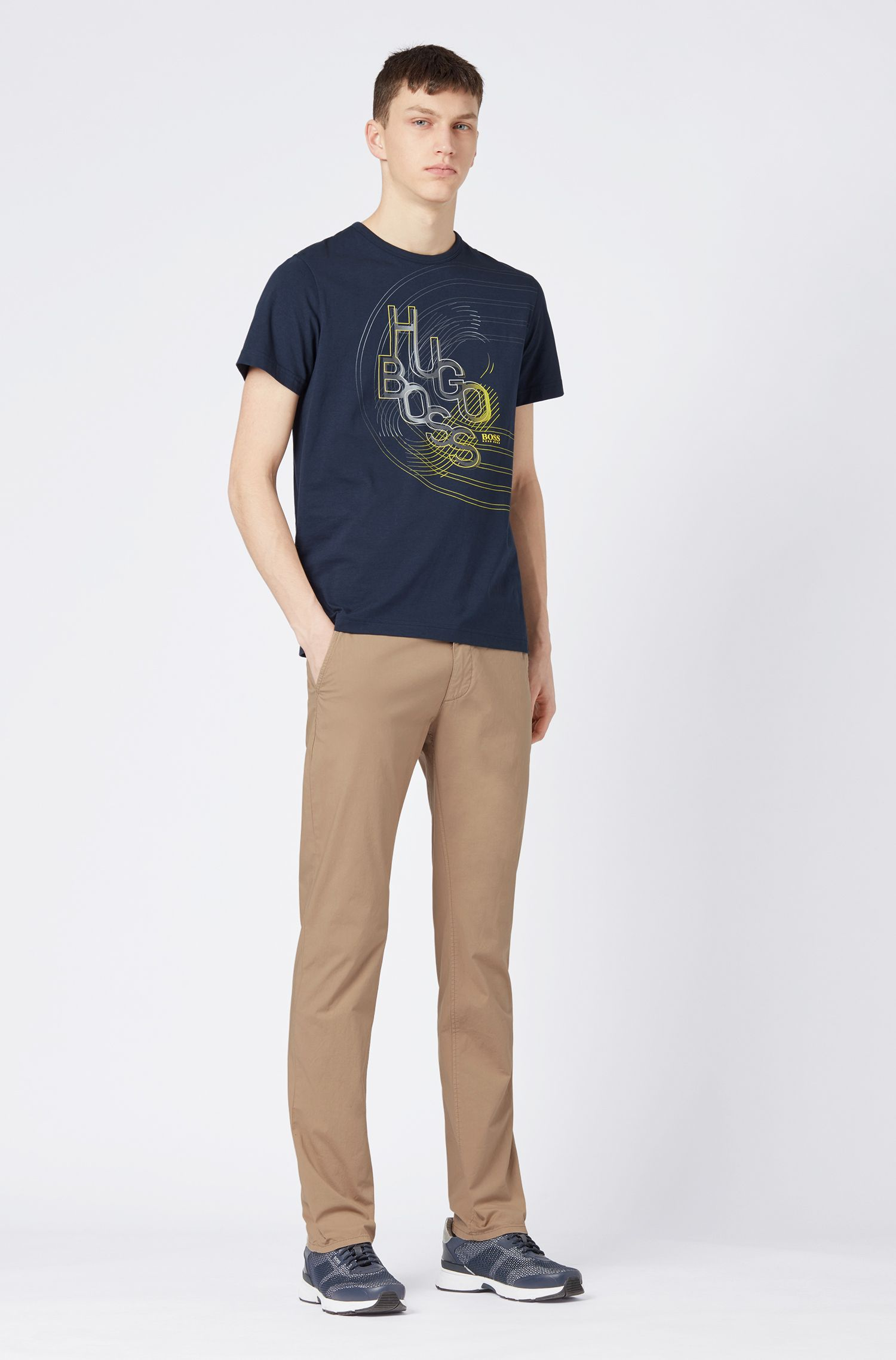 Pantalon Slim Fit léger en coton stretch italien, Beige