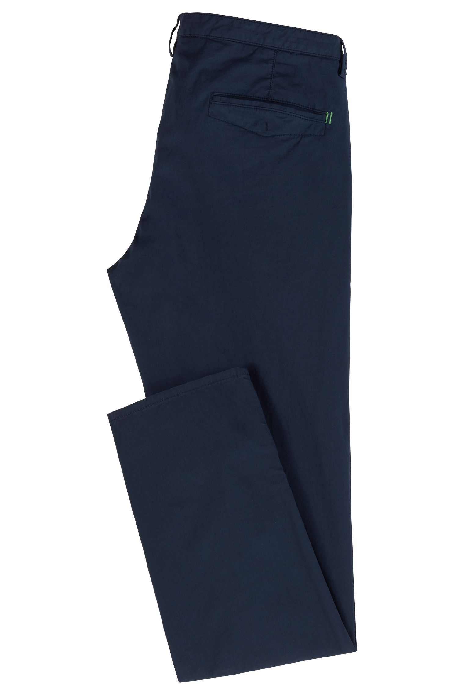 Lightweight slim-fit trousers in Italian stretch cotton, Dark Blue