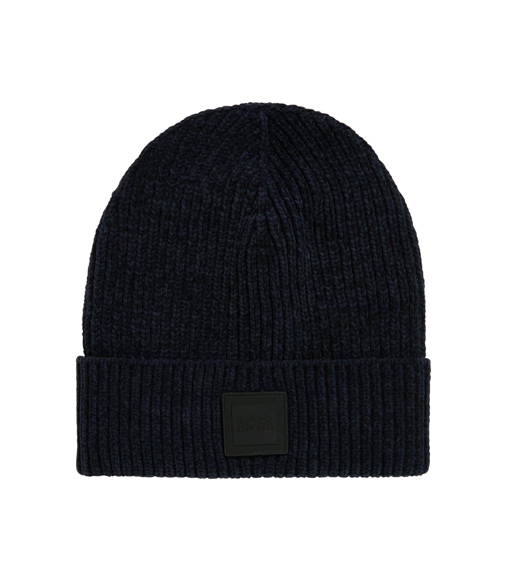 Mütze aus Baumwoll-Chenille mit quadratischem Silikon-Aufnäher, Dunkelblau