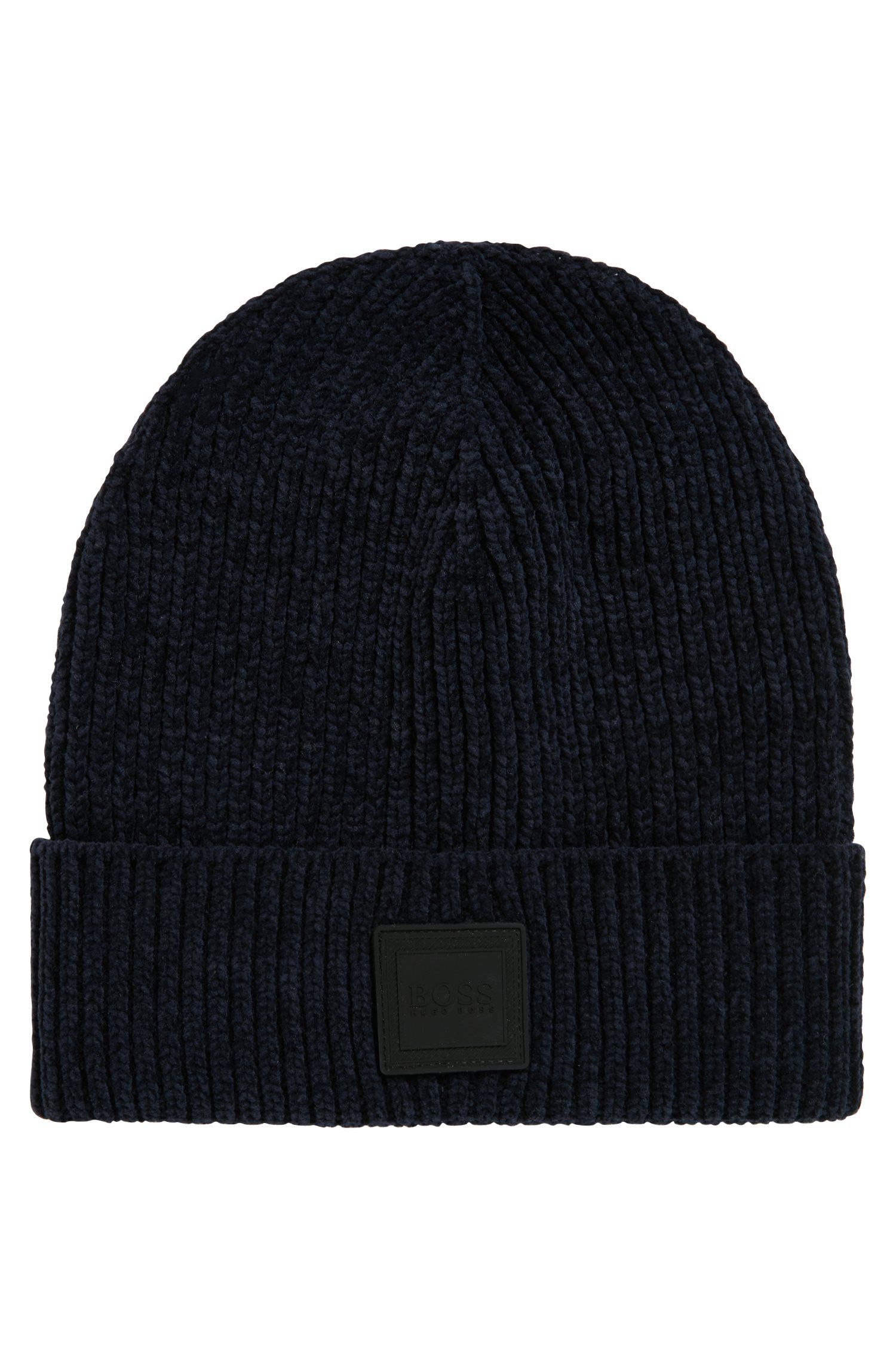 Cotton-chenille beanie hat with square silicone badge, Dark Blue