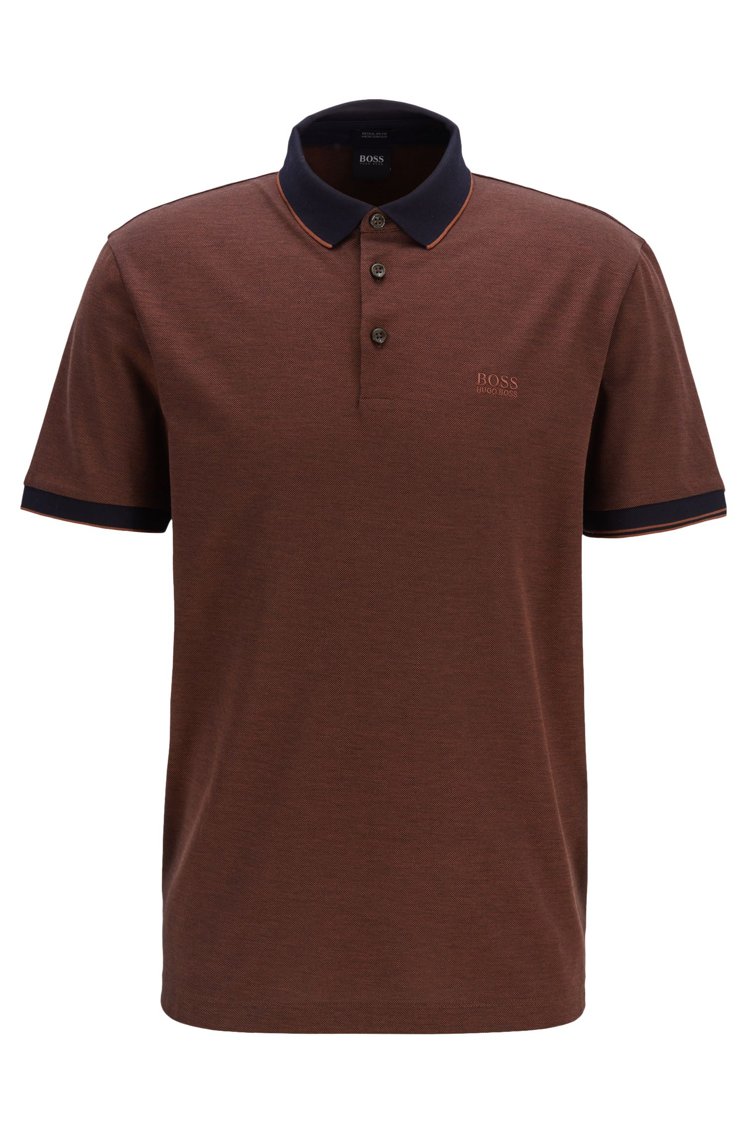 Polo regular fit en piqué Oxford de dos tonos, Marrón