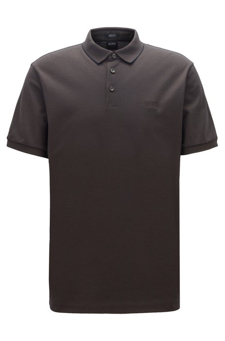Regular-fit polo shirt in two-tone Oxford piqué, Open Green
