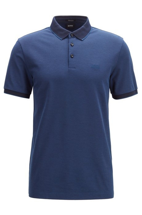 Regular-fit polo shirt in two-tone Oxford piqué, Dark Blue