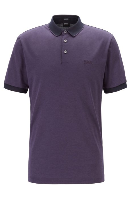 Regular-fit polo shirt in two-tone Oxford piqué, Dark Purple