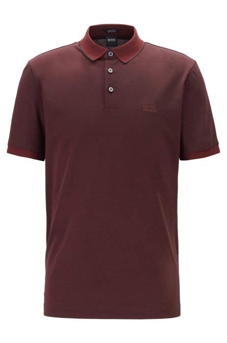 Regular-fit polo shirt in two-tone Oxford piqué, Dark Red
