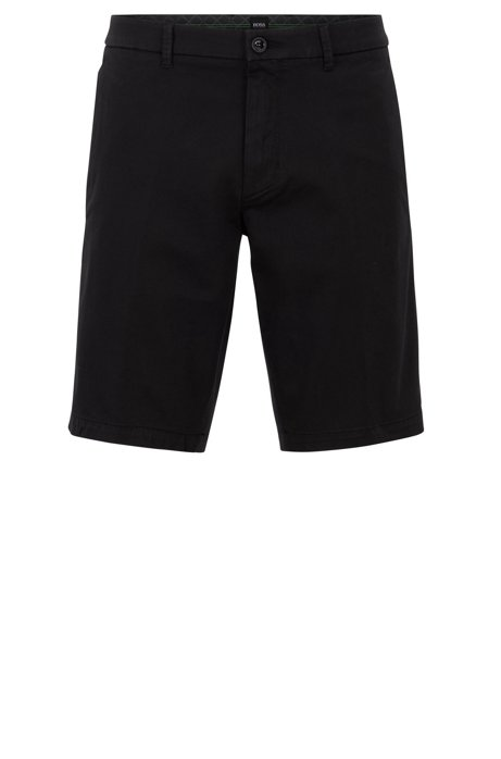 Slim-fit shorts in satin-touch stretch fabric, Black