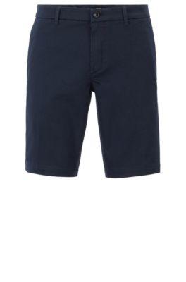 Slim-Fit Shorts aus Stretch-Gewebe mit Satin-Haptik, Dunkelblau
