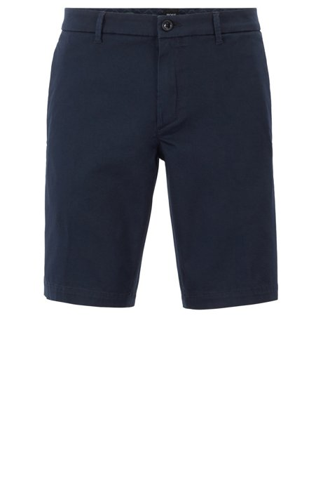 Slim-fit shorts in satin-touch stretch fabric, Dark Blue