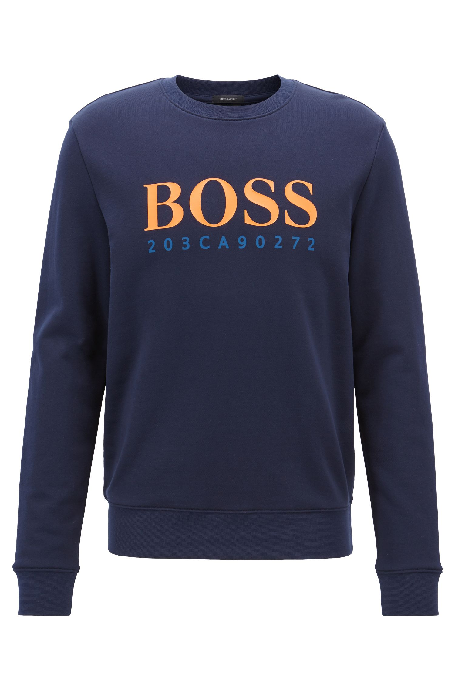 Regular-fit sweatshirt with seasonal logo artwork, Dark Blue