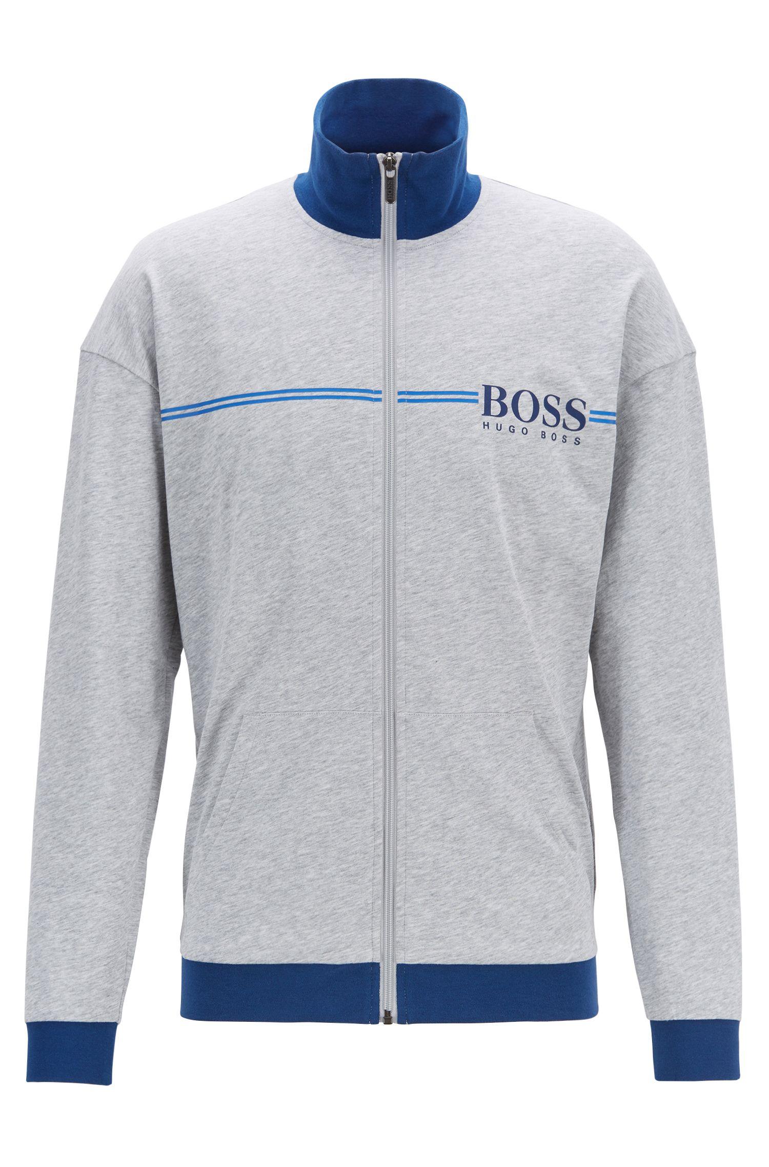 Loungewear-Jacke aus Baumwolle mit Logo-Print, Grau