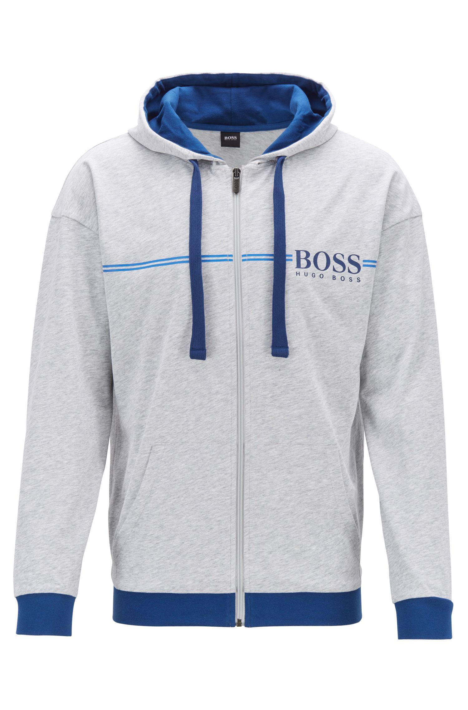 Hooded loungewear jacket in single-jersey cotton, Grey