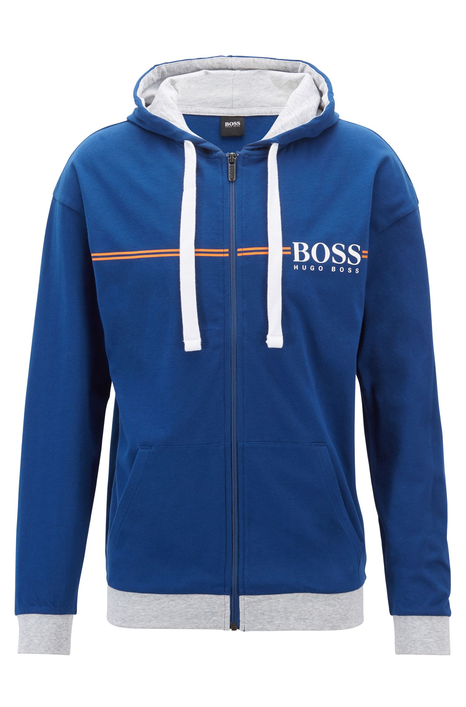 Loungewear-Kapuzenjacke aus Baumwolle, Blau