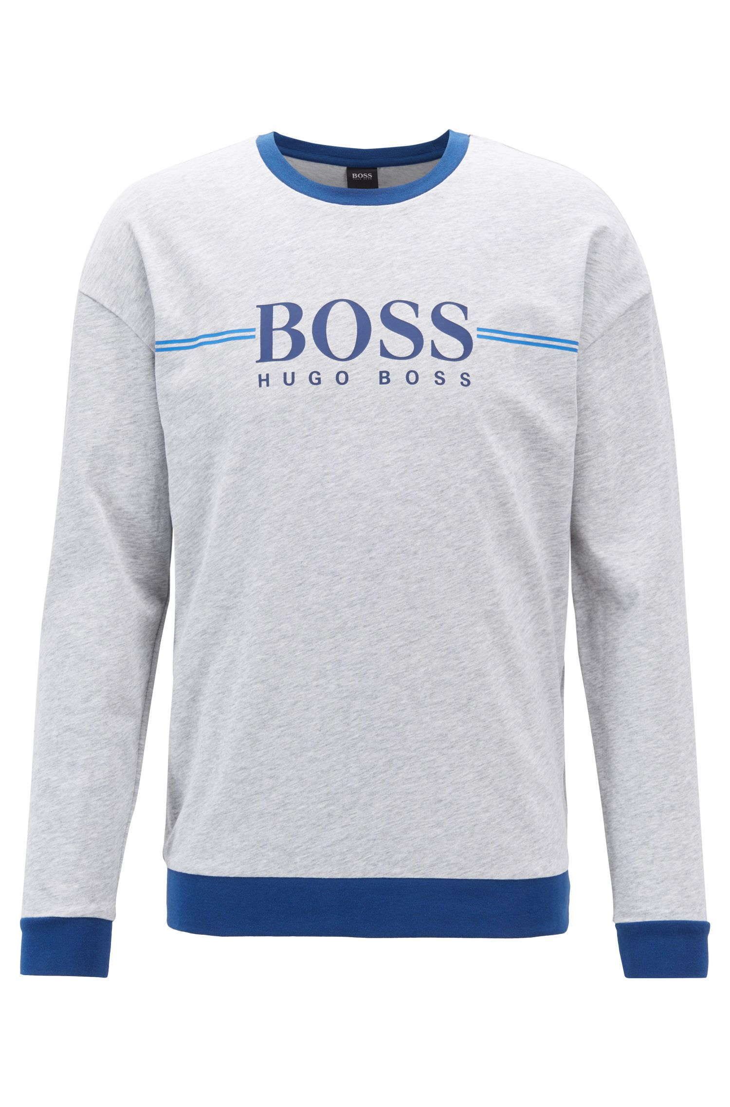 Loungewear-Sweatshirt aus Baumwolle mit Logo-Print, Grau