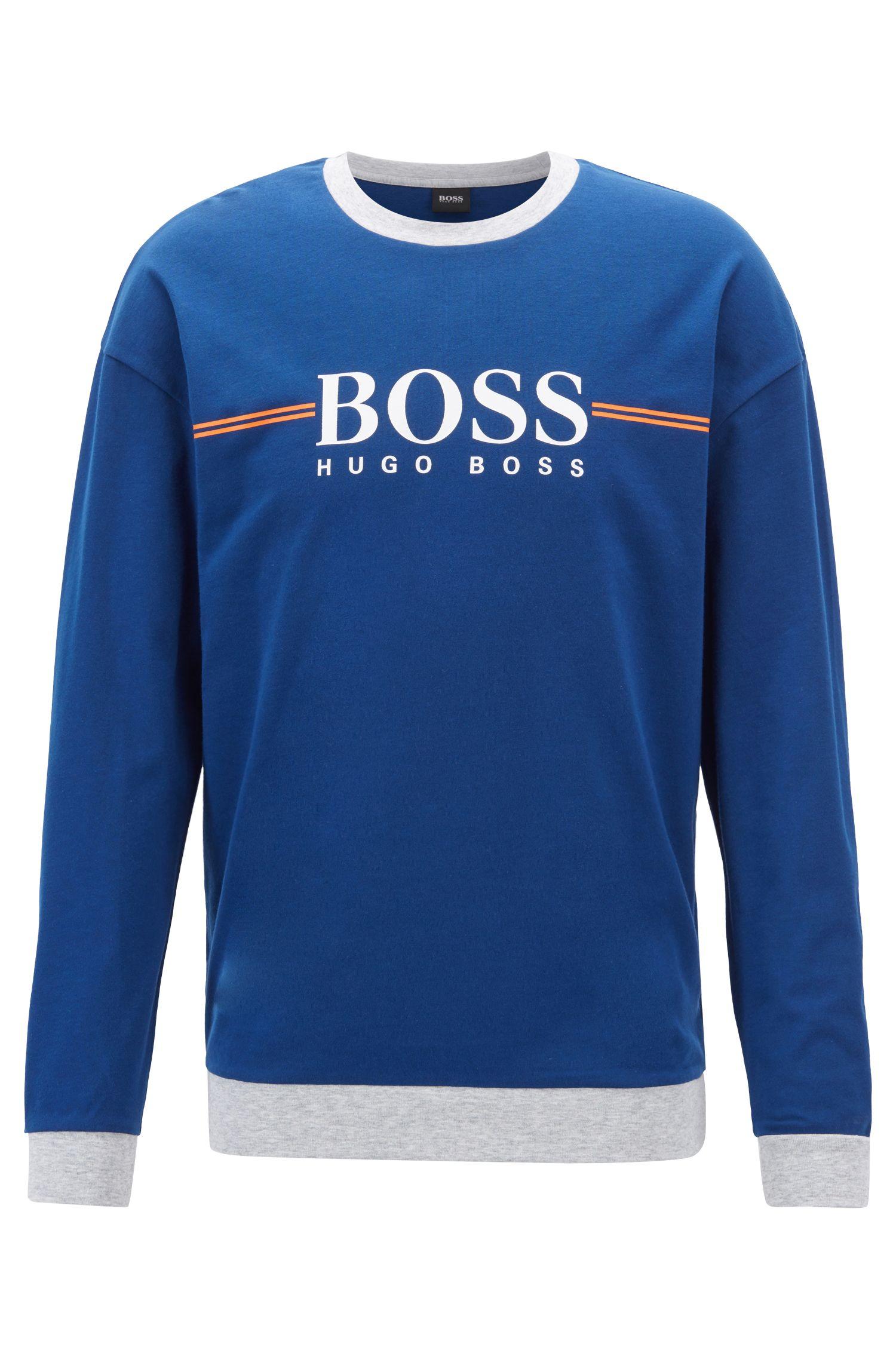 Loungewear-Sweatshirt aus Baumwolle mit Logo-Print, Blau