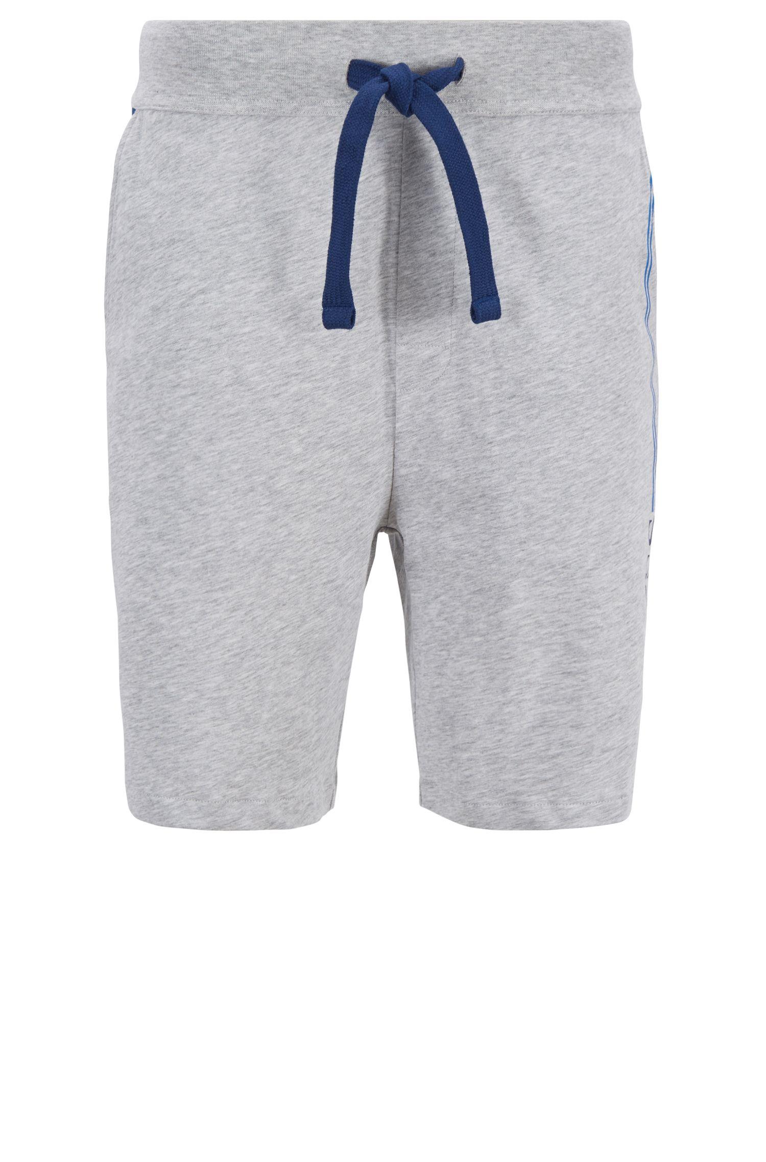 Shorts loungewear de punto de algodón con logo estampado, Gris