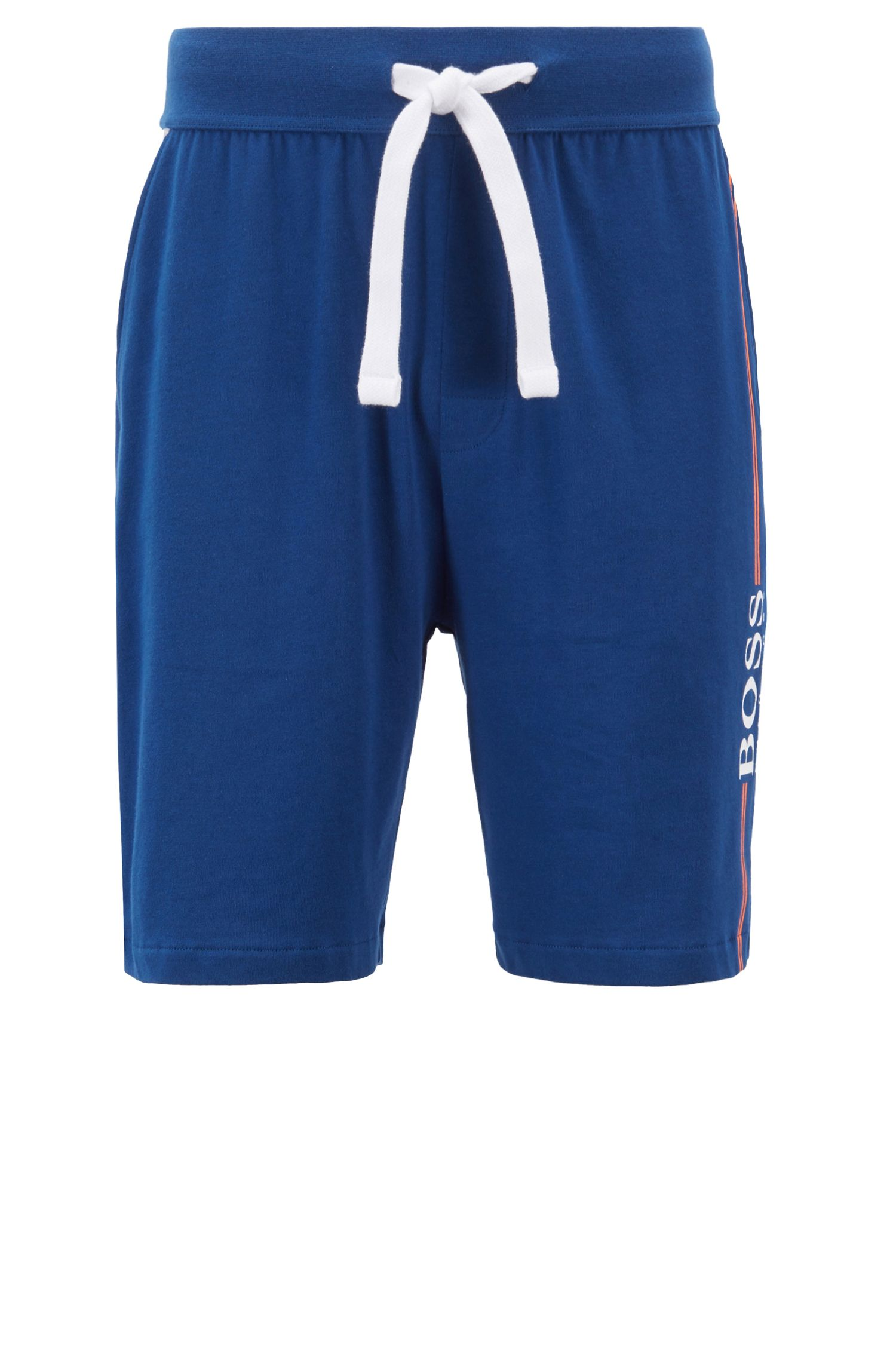 Loungewear shorts in cotton jersey with logo print, Blue