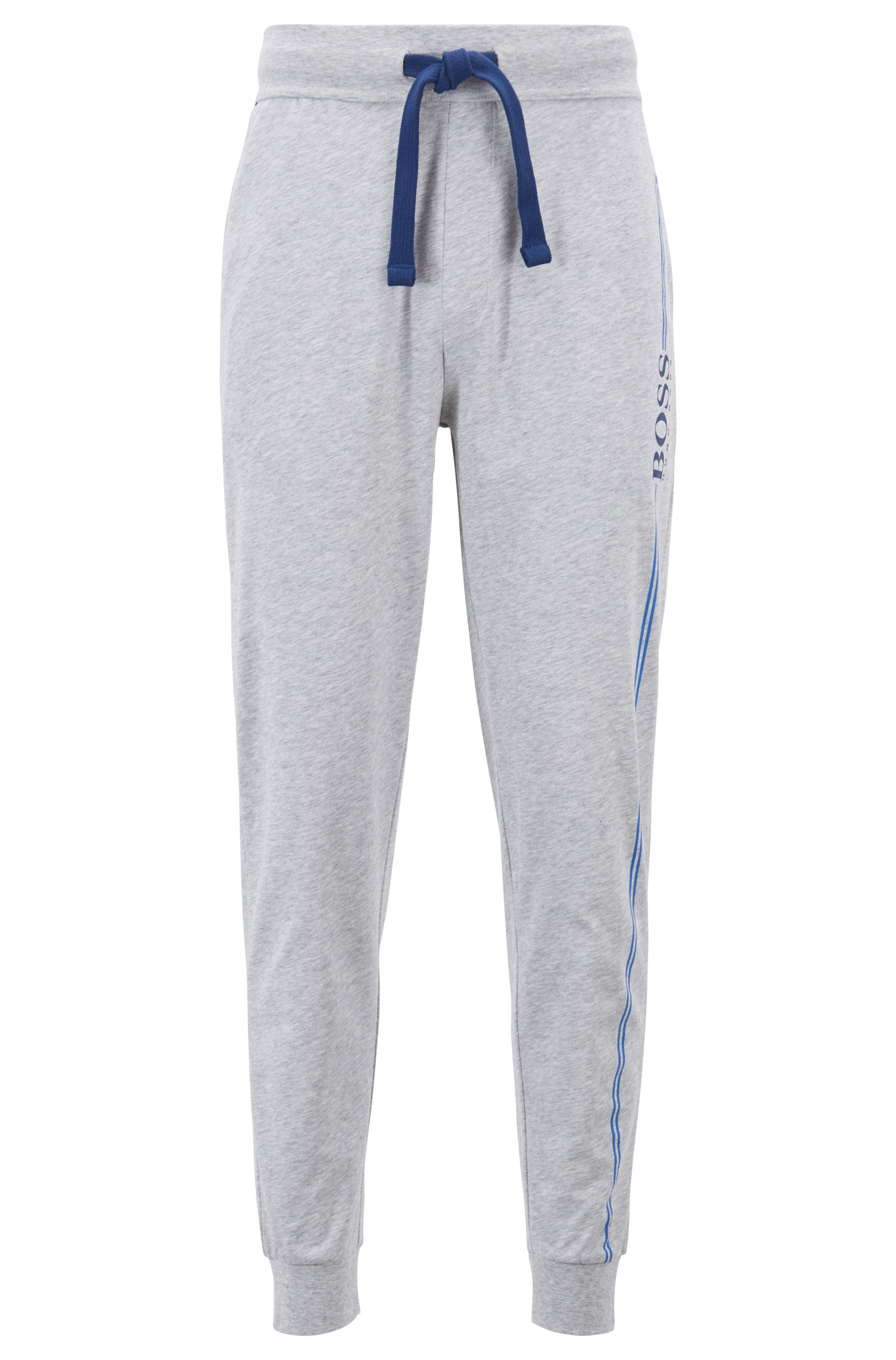 Cuffed-hem loungewear trousers in cotton with logo print, Grey