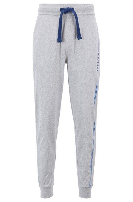 Loungewear-Hose aus Baumwolle mit Bündchen und Logo-Print, Grau