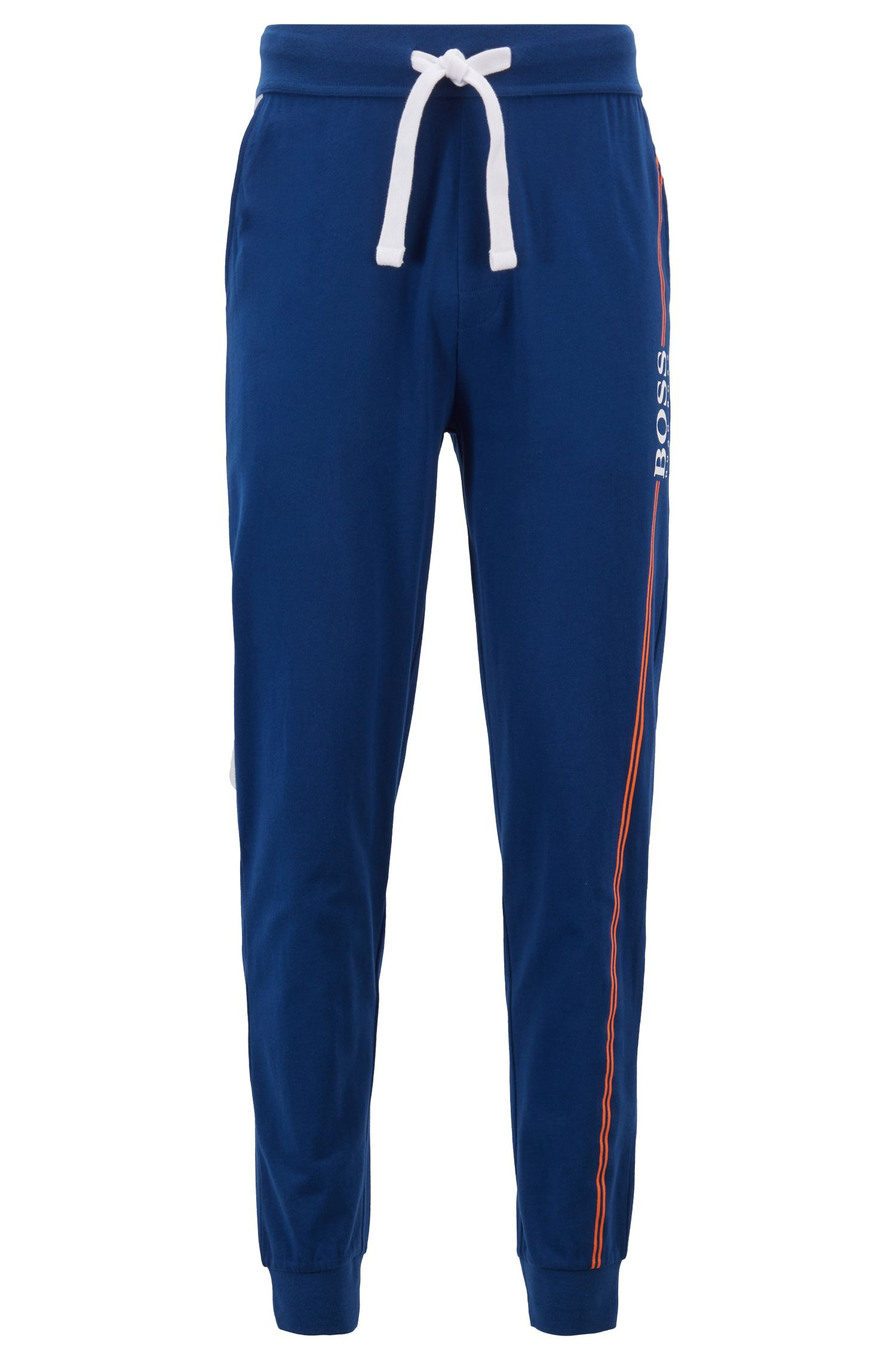 Cuffed-hem loungewear trousers in cotton with logo print, Blue