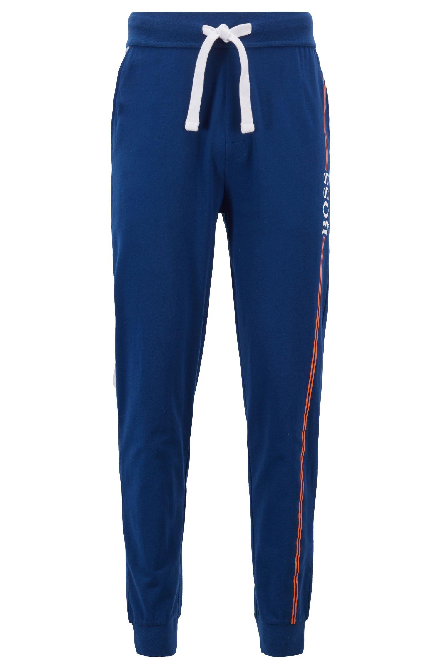 Loungewear-Hose aus Baumwolle mit Bündchen und Logo-Print, Blau