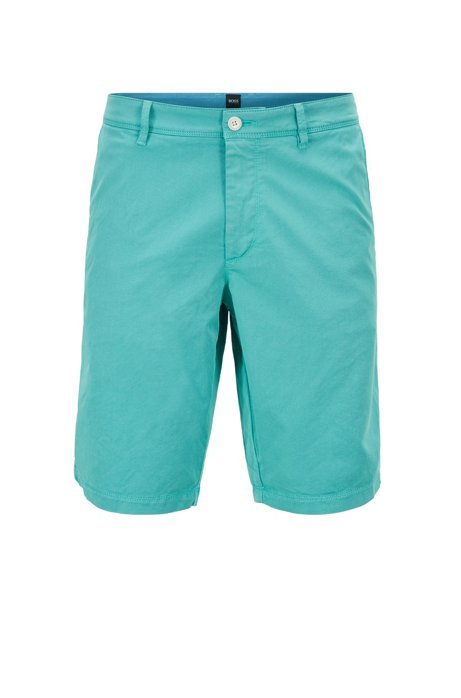 Slim-fit shorts in two-tone Italian twill, Light Green