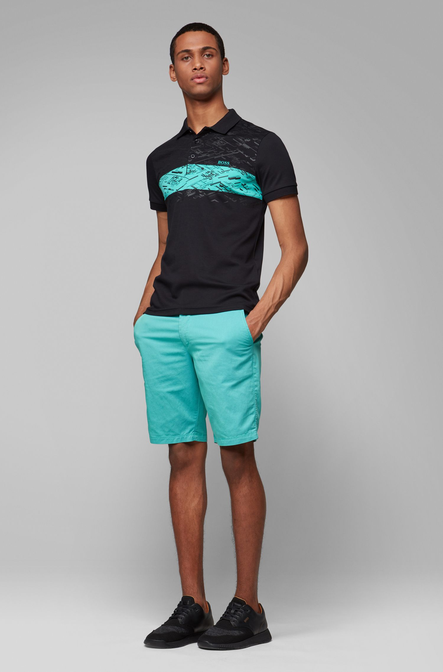 Slim-fit shorts in two-tone Italian twill, Light Green